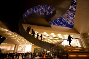 Helicoid spiral staircase under the Louvre Pyramid, by I.M. Pei